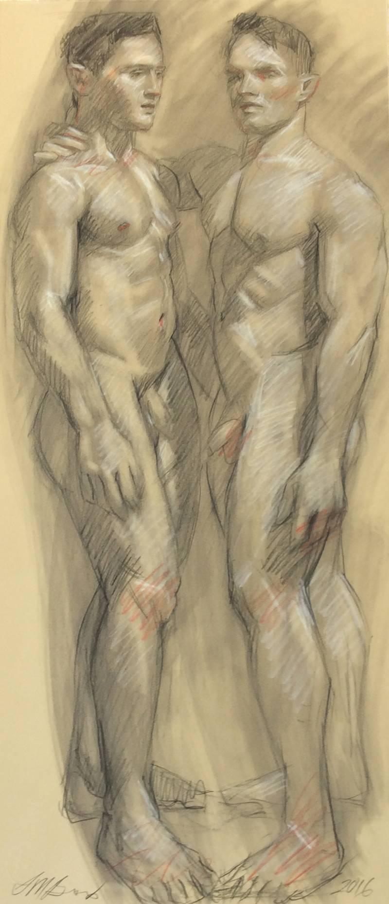 MB 808 (Figurative Charcoal Drawing on Paper of Two Male Nudes Models)