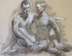 MB 809 (Figurative Charcoal Drawing on Paper of Two Seated Male Nude Models)