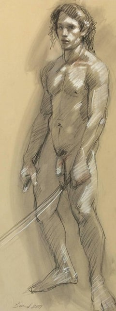 MB 810 (Figurative Male Nude Charcoal Drawing on Arches Paper)