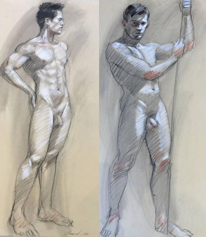 MB 801 A&B (Gestural Male Nude Life Drawing, Double Sided)