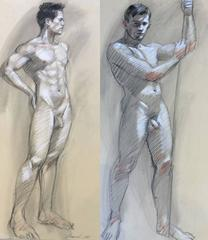 MB 801 A&B (Double Sided Figurative Charcoal Drawing of Two Male Nudes)