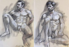 MB 803 A&B (Double Sided Figurative Charcoal Drawing, Two Seated Male Nudes)