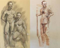 MB 804 A&B (Double Sided Figurative Drawing, Two Male Nudes and Safari Hunter)