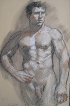 MB 053 (Figurative Charcoal Drawing of a Muscular Male Nude on Arches Paper)