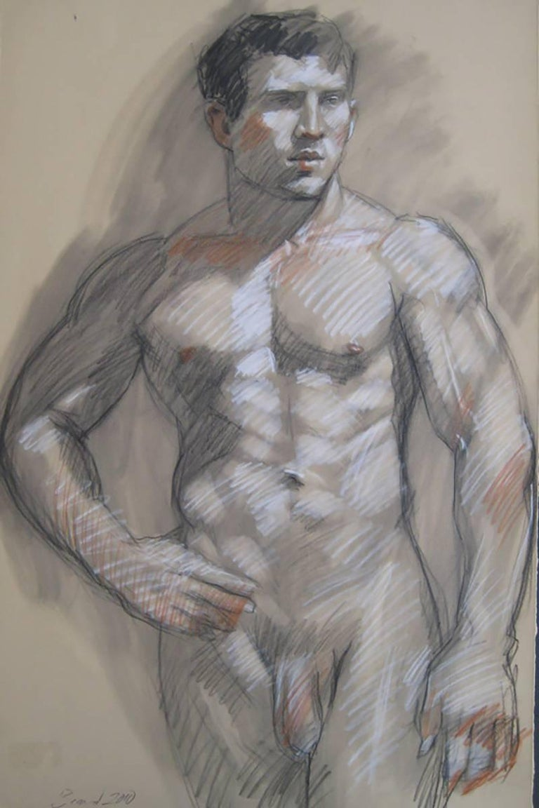 Mark Beard Figurative Art - MB 053 (Figurative Charcoal Drawing of a Muscular Male Nude on Arches Paper)