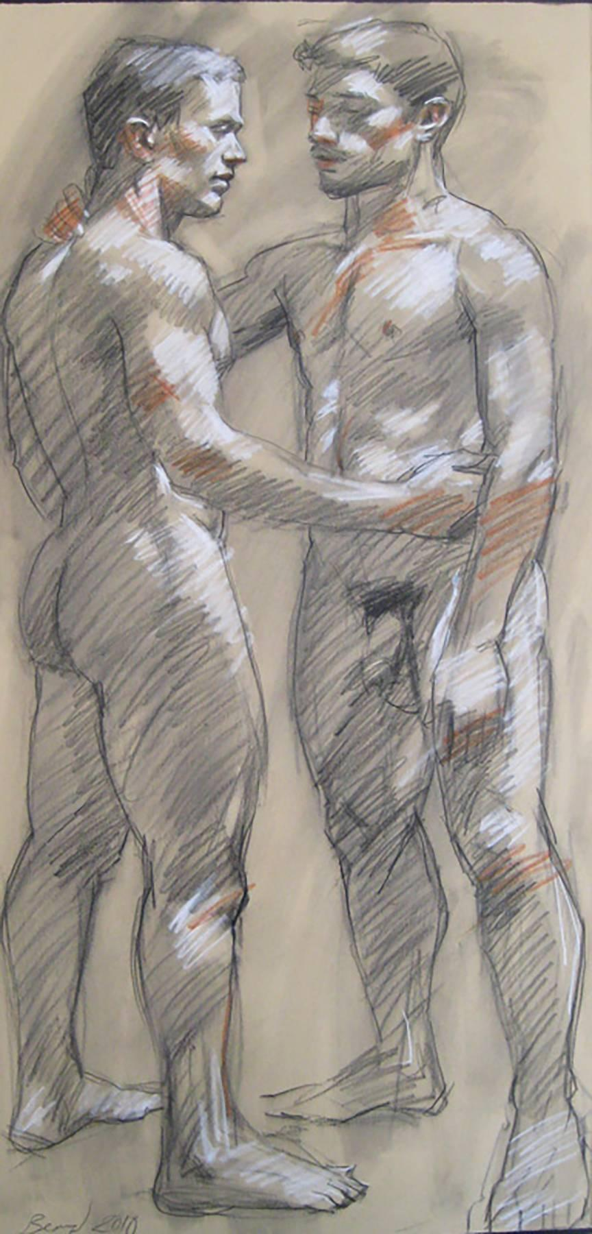 Mark Beard 054 (Figurative Charcoal Drawing of Two Male Nudes on Arches Paper)