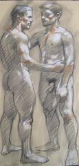 MB 054 (Figurative Charcoal Drawing of Two Male Nudes on Arches Paper)