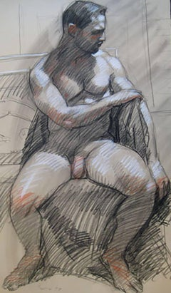 MB 025 (Figurative Charcoal Drawing of Seated Male Nude on Arches Paper)
