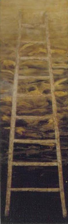 Ladder (vertical black and gold abstract oil painting on panel)