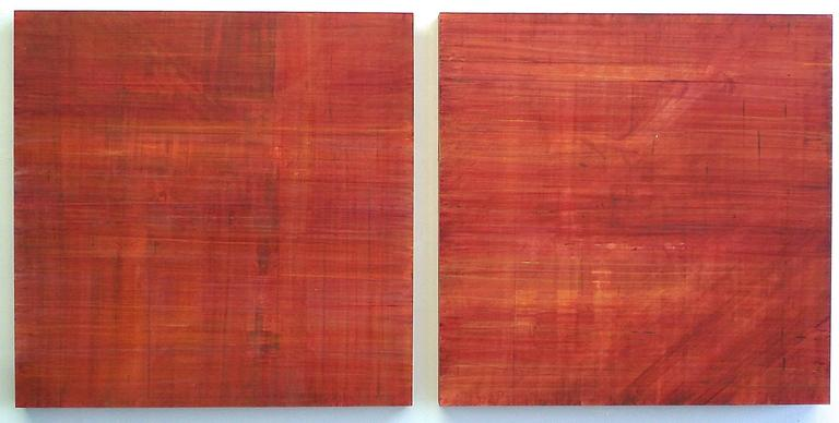 Ginny Fox - Minimalist Abstract Color Field Diptych Painting in Red and  Orange (C15-