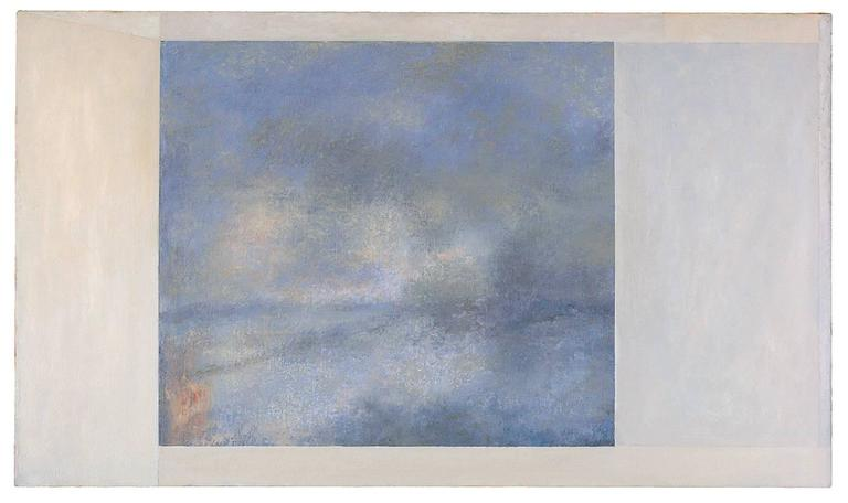 Modern, abstracted landscape reminiscent of Hudson River School & Romanticist painters oil on canvas 24 x 48 inches   Romantic (yet modern) Hudson River oil abstract landscape painting where land and sky collide with a harmonious palette of soft