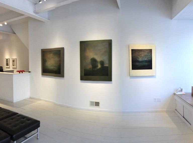Opening No. 52 (Abstracted Vertical Luminist Oil Painting of Hudson Valley) - Gray Landscape Painting by Leigh Palmer