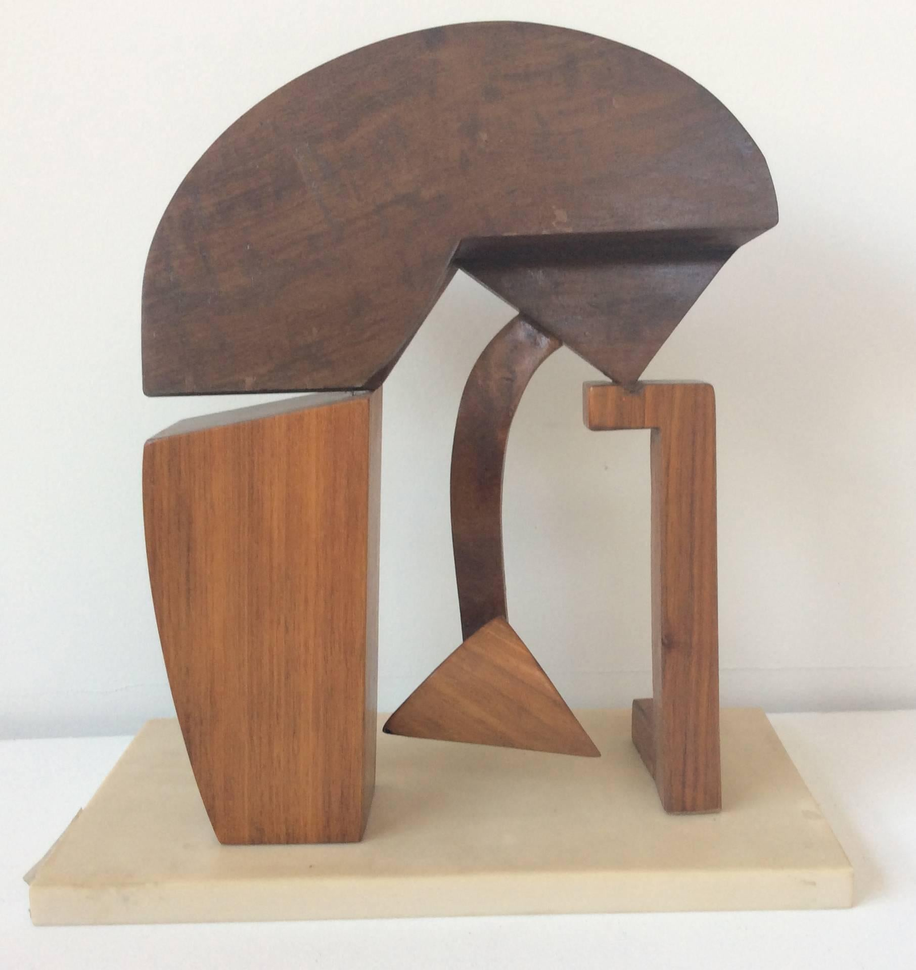 Anytime Now (Abstract Mid Century Modern Wooden Sculpture with Marble Base)