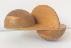 All's Fair (Abstract, Mid Century Modern Small Scale Wooden Tabletop Sculpture)