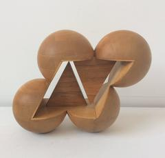 Fair Ball (Abstract Mid Century Modern Inspired Small Wooden Tabletop Sculpture)
