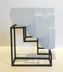 Three by Six (Small Abstract Mid Century Modern White Wood and Steel Sculpture)