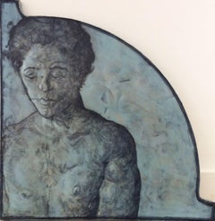 The Boxer (Blue Toned Portrait Painting of Young Man on Copper and Wood)