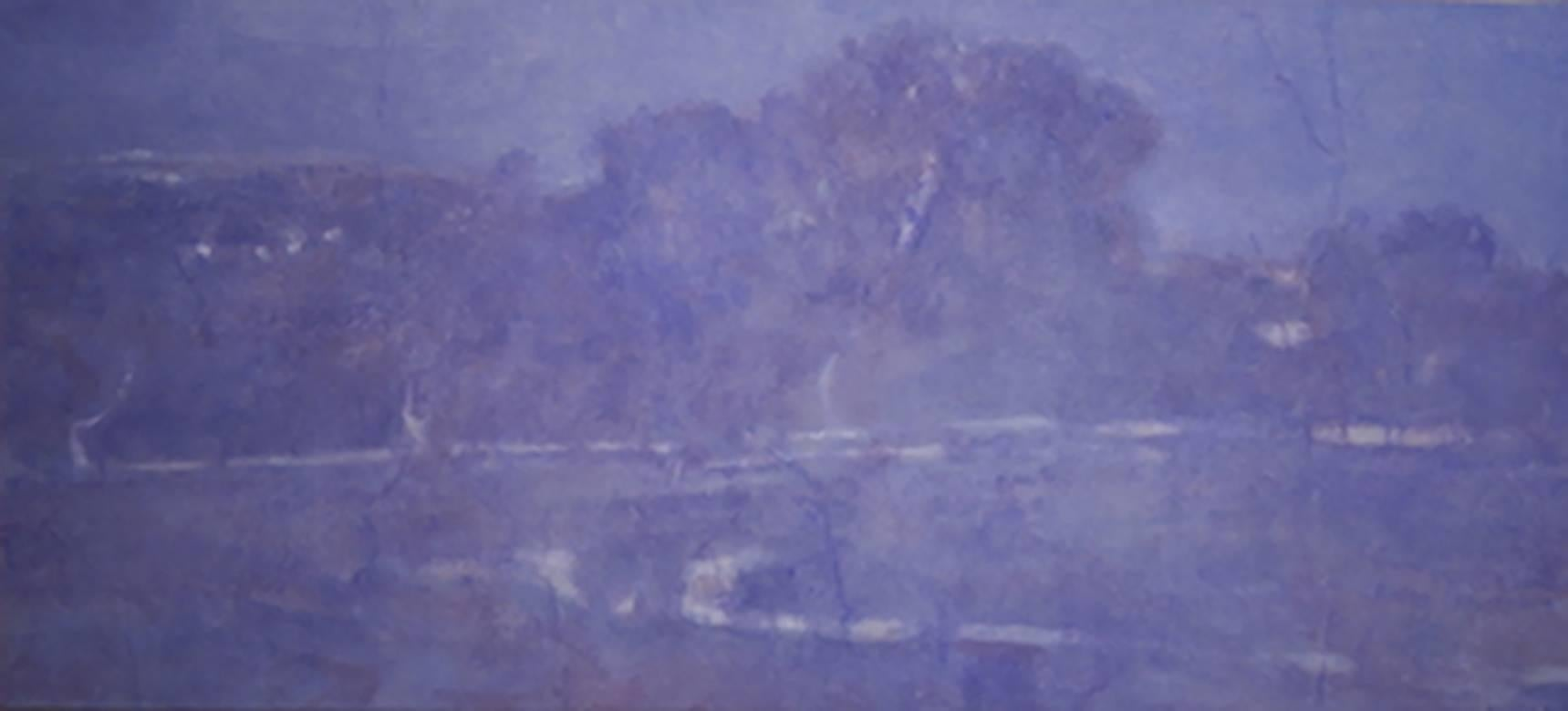 Road to Olana (Horizontal Monochromatic Purple Landscape Painting on Canvas)
