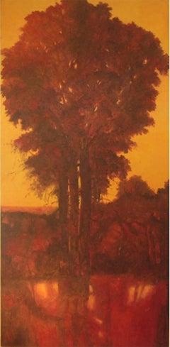 Umbra Mai Fu (Vertical, Monochromatic Red Landscape Oil Painting on Canvas)