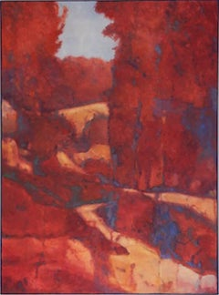 Wilhelm Meisters' Landscape (Vertical Landscape Oil Painting in Red and Blue)