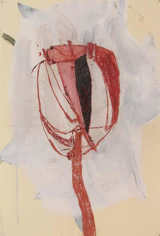 Flower #7 (Gestural Abstract Tulip on Paper in Red White and Black)