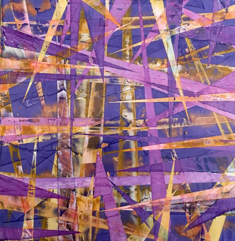 Big Little #37 - Colorful Purple and Orange Abstract Geometric Painting on Panel