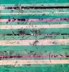 Big-Little #103  (Teal and Purple Horizontal Striped Modern Geometric Painting)
