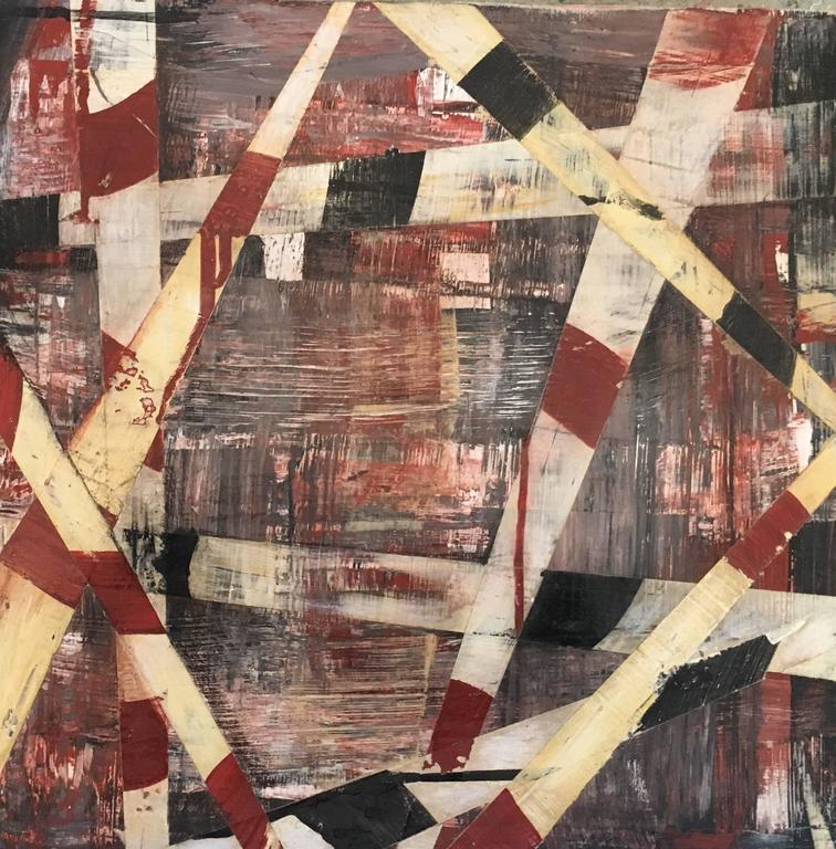 Big-Little #98 (Burgundy, Beige and Black Square Abstract Painting on Panel)