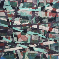 Finding Noto #6 (Graphic Square Abstract Painting in Plum & Teal)