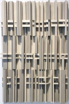 Side by Side - (Monochromatic Wooden Wall Sculpture with Vertical Lines)