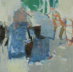 Bayside (Modern Abstract Expressionist Oil Painting in Blue Green & Pastel Hues)
