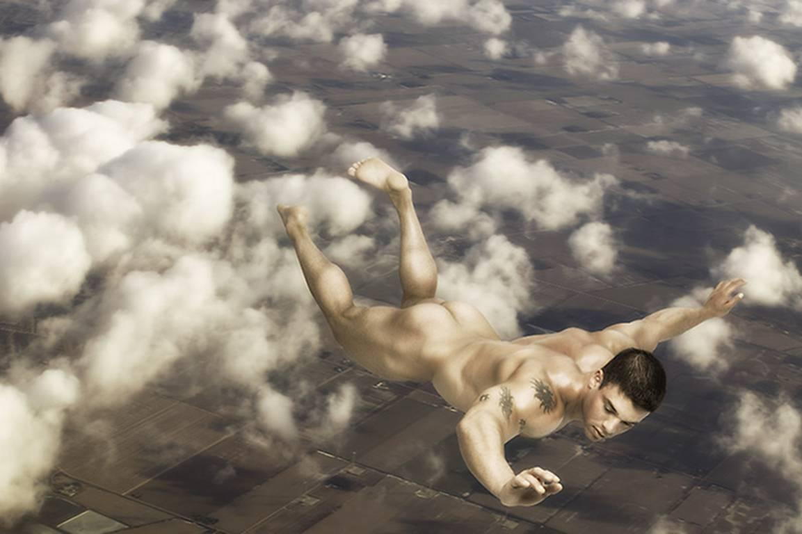 Icarus 4: Modern Photograph of Nude Male in Sky Based on Traditional Greek Myth