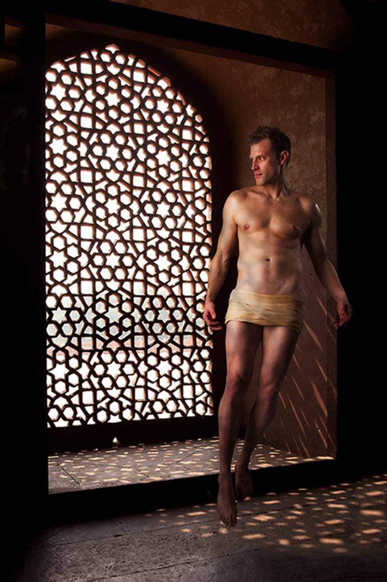 Mere Mortal #4 (Archival Photograph of Male Nude in Islamic Window)