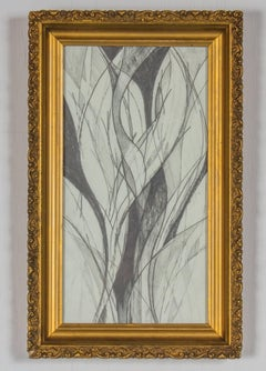 Calla Lilies (Abstract Floral Still Life Drawing in Vintage Frame)