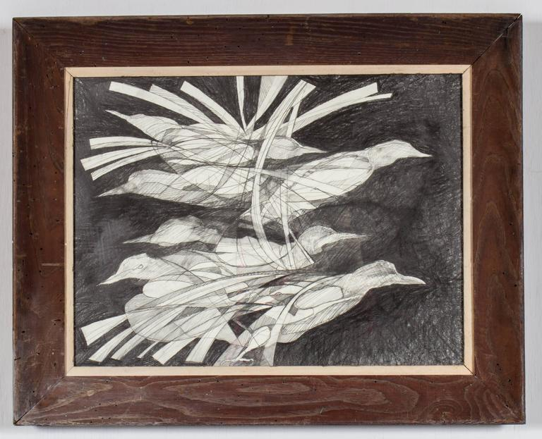 Birds (Abstracted Black & White drawing of Birds in Unique Vintage Frame)