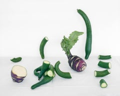 Cucumbers & Kohlrabi (Color Still Life Photograph of Purple & Green Vegetables)