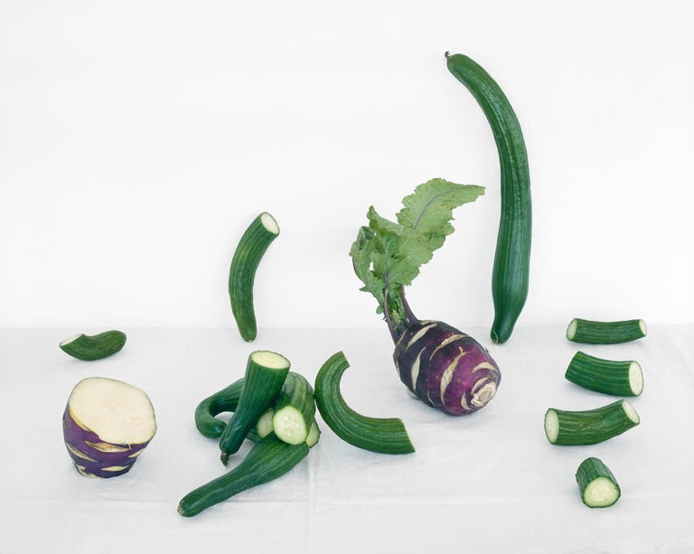 Cucumbers & Kohlrabi (Color Still Life Photograph of Purple & Green Vegetables)  1