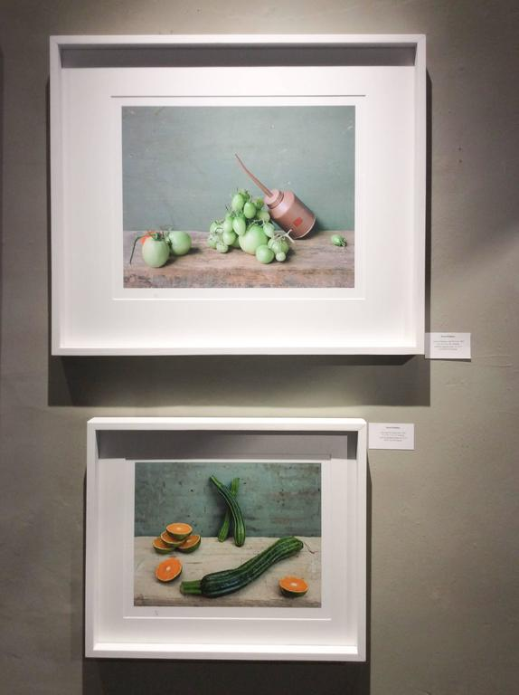Green Tomatoes & Oil Can: Modern Still Life Photograph of Food & Objects, Framed 7