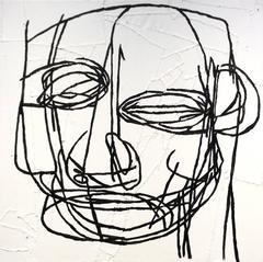 Raphael (Contemporary, Black & White Primitive Portrait on Hand Stitched Canvas)