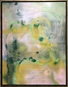 Looking for Truth (Gestural Abstract Painting in Green and Light Pink)