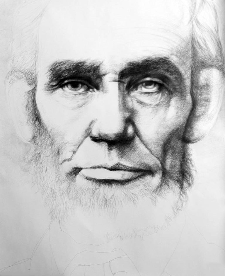 Linda Newman Boughton Portrait - Abraham Lincoln: Large Black & White Ballpoint Pen Drawing of American President