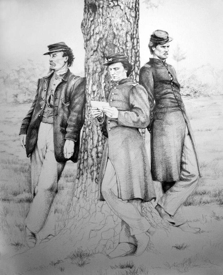 The Letter (Large Black & White Ballpoint Pen Drawing of Civil War Soldiers)