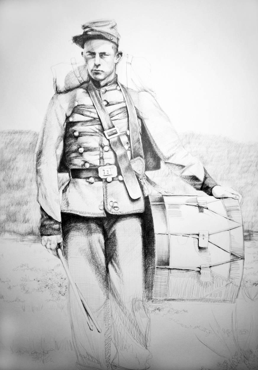 Drummer (Large Black & White Ballpoint Pen Drawing Civil War Soldier Portrait)