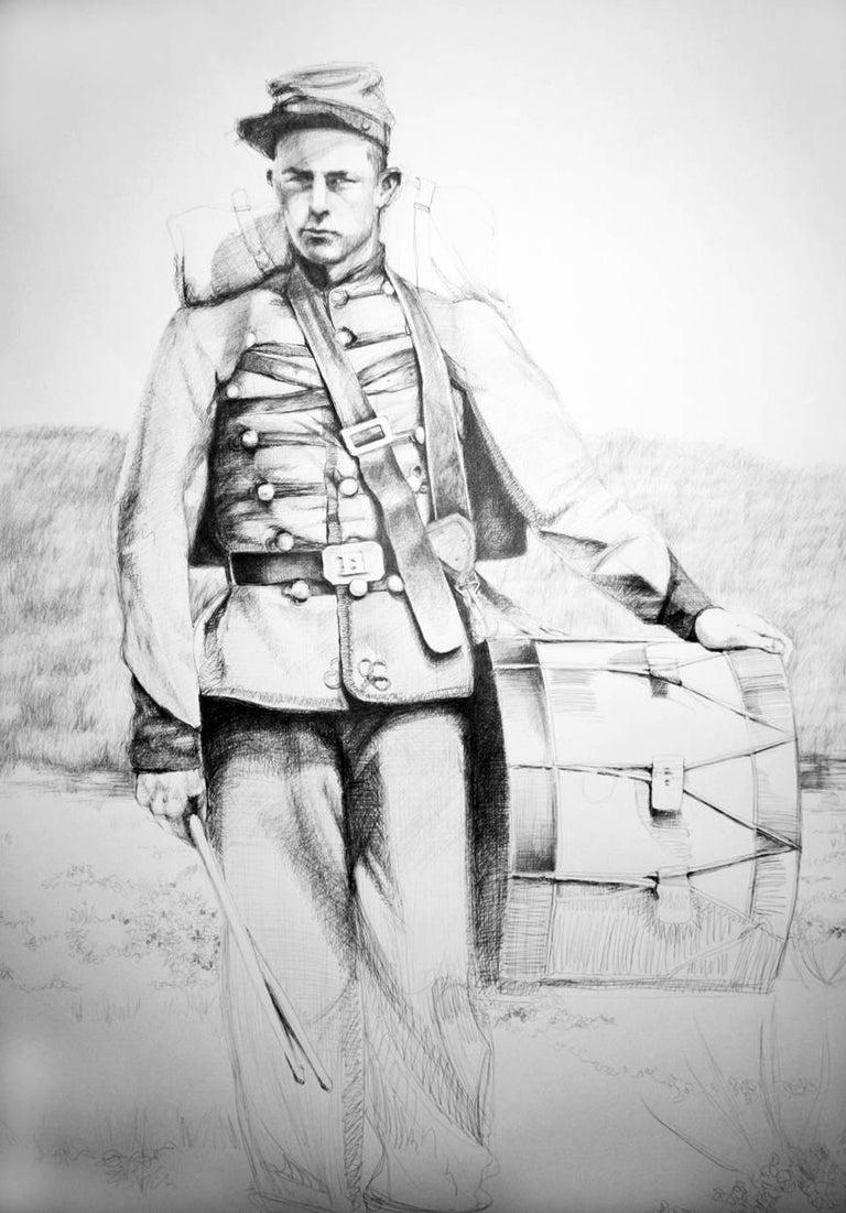 Linda Newman Boughton Figurative Art - Drummer (Large Black & White Ballpoint Pen Drawing Civil War Soldier Portrait)