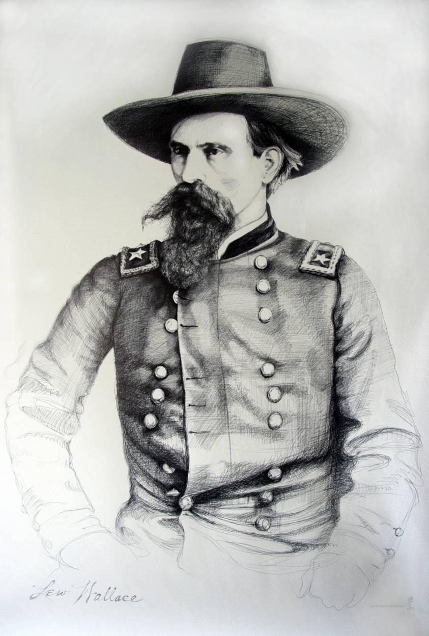 Lew Wallace (Large Black & White Ballpoint Pen Civil War Union General Portrait)