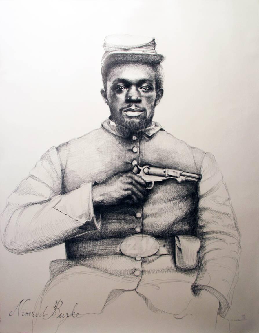 Nimrod Burke (Large Black & White Ballpoint Pen Civil War Soldier Portrait)