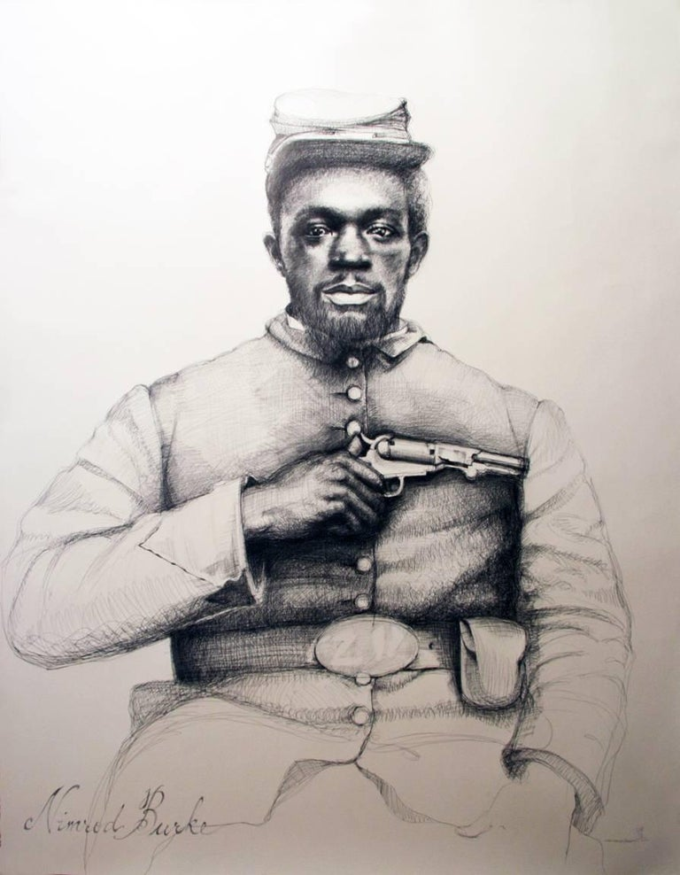 Linda Newman Boughton Figurative Art - Nimrod Burke (Large Black & White Ballpoint Pen Civil War Soldier Portrait)