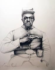 Linda Newman Boughton - Nimrod Burke (Large Black & White Ballpoint Pen Civil War Soldier Portrait)