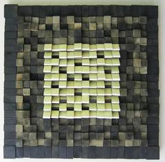 Oasis (Modern Abstract Wooden Wall Sculpture in Black and Pale Yellow)