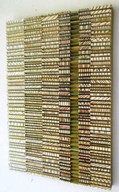 Todoro (Abstract, Three-Dimensional Wood Wall Sculpture in Green & White)